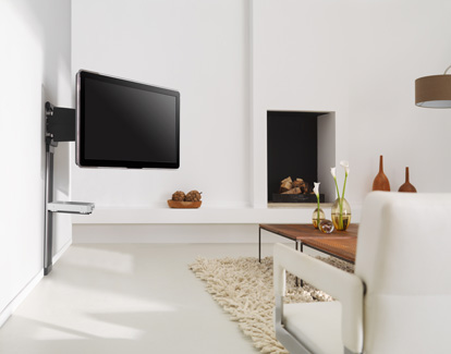 Tiltable-wall-mount-bracket-with-attachable-shelves